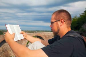 Man studying the Bible